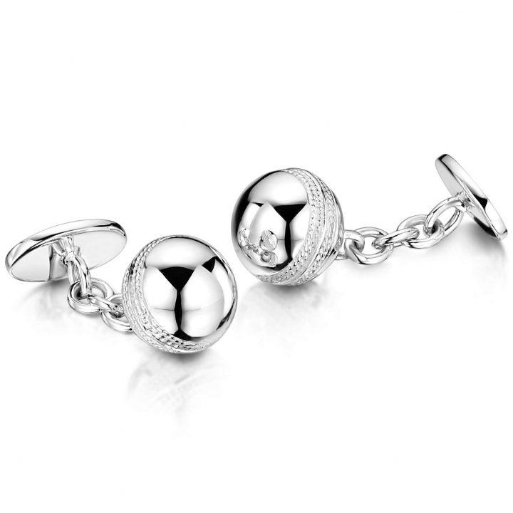 Sterling Silver Cricket Ball Engraved Cufflinks