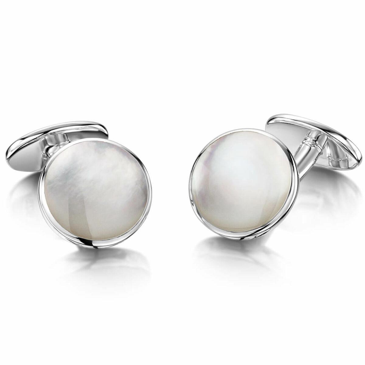 Hylton Engraved Cufflinks - Pearl