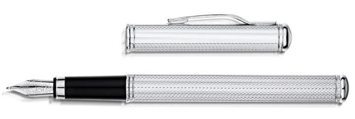 Engraved silver fountain pen