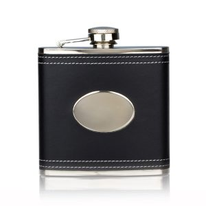 Product image of hip flask with black leather wrap on white background