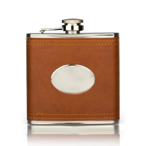 personalised brown leather engraved hip flask