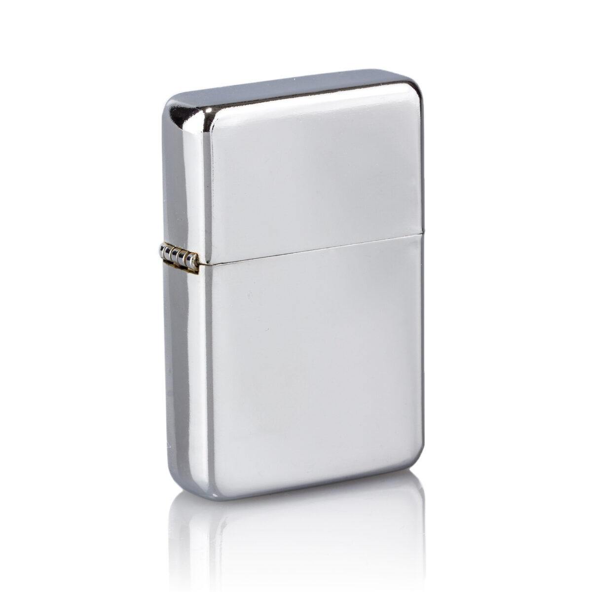 Classic silver personalised lighter on white background
