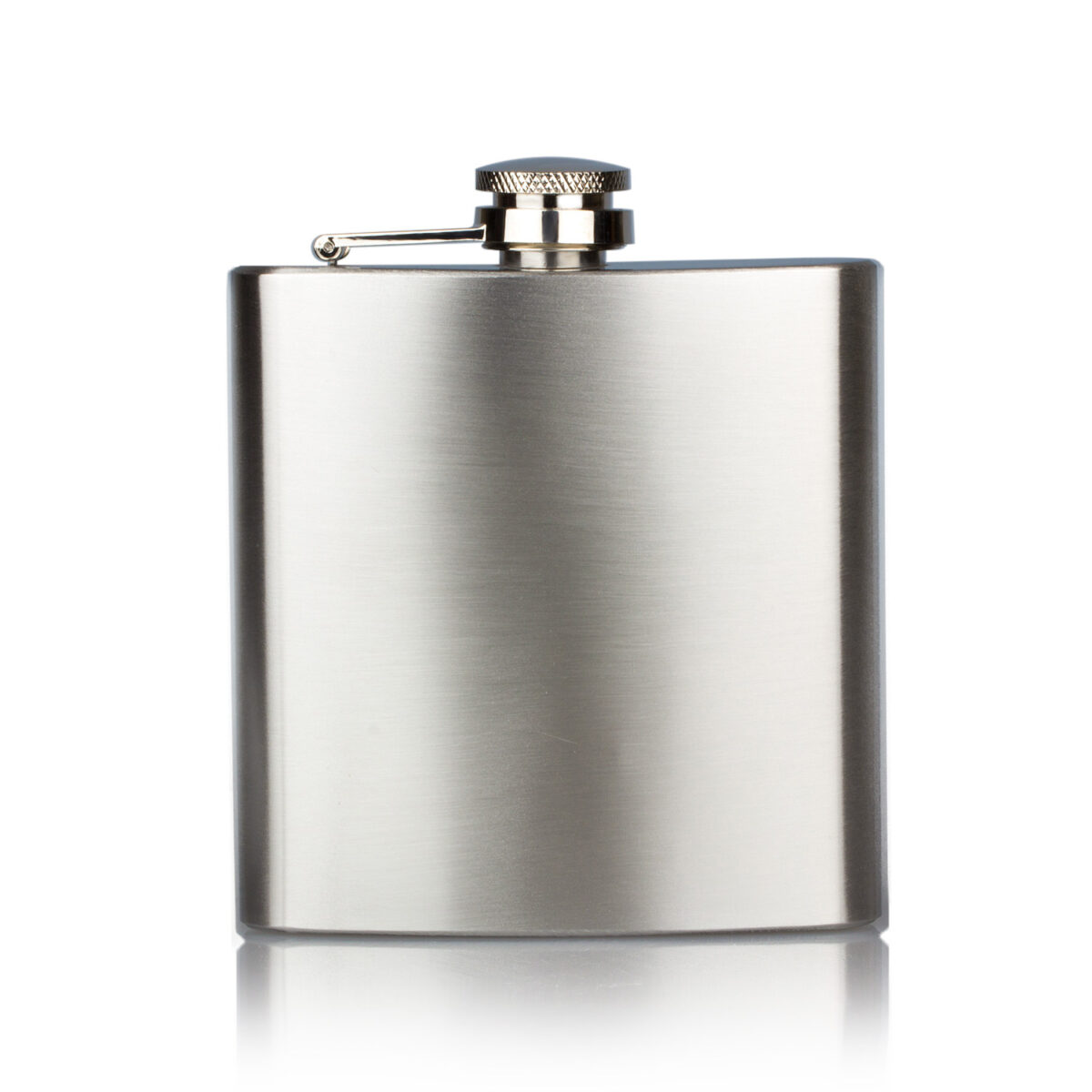 Classic grey stainless steel personalised hip flask