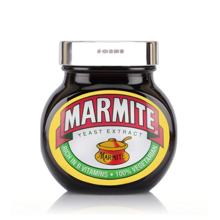 silver marmite engraved lid with personalisation
