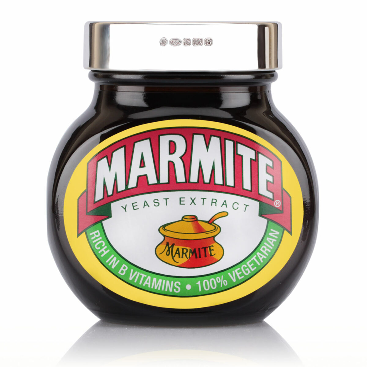 500g silver marmite lid engraved with custom message
