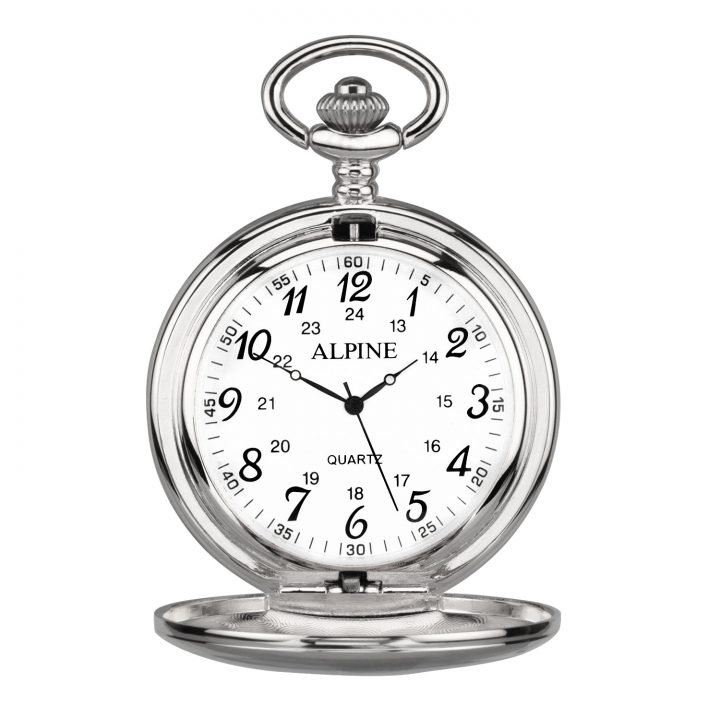 personalised pocket watch in silver and numerals