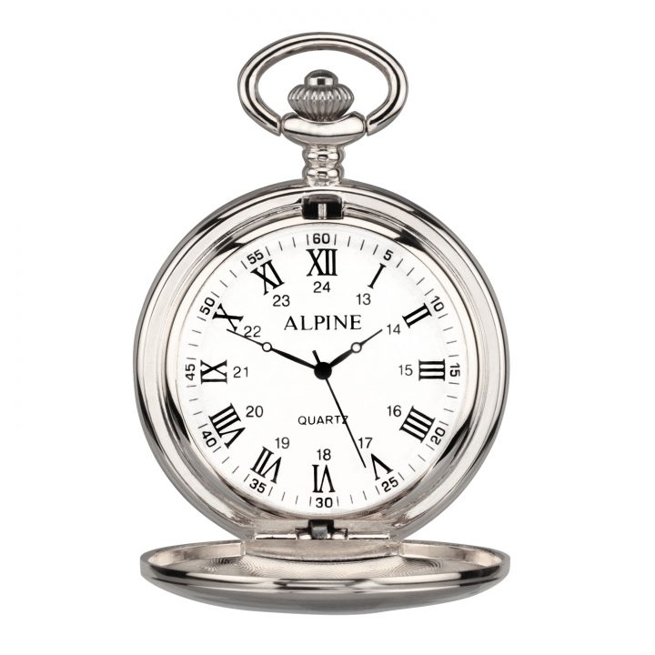 personalised pocket watch in silver with roman letters