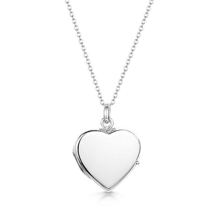 engraved heart silver locket