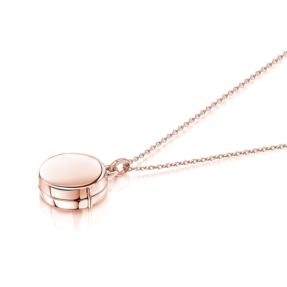 engraved silver locket with rose gold plate