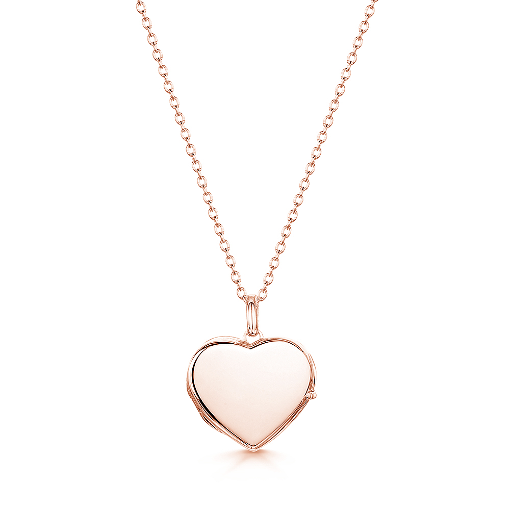 engraved locket rose gold heart