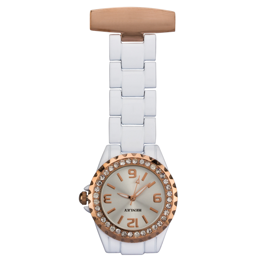 white engraved nurses personalised watch
