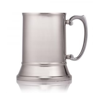 personalised tankard in brushed stainless steel