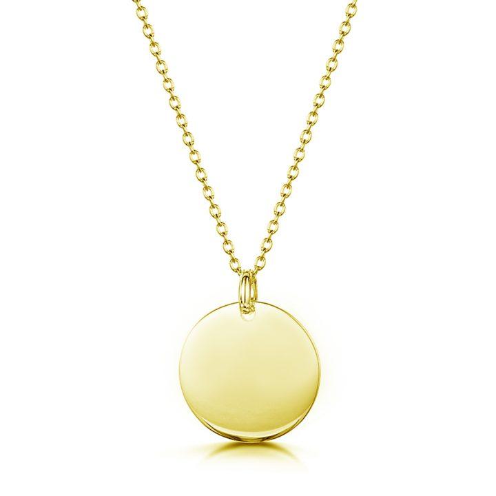 custom gold necklace disc pendant