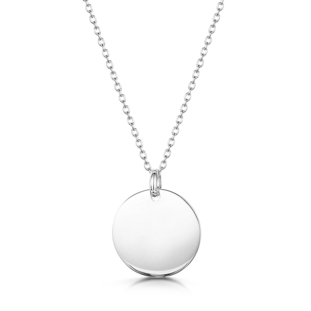 engraved disc silver necklace