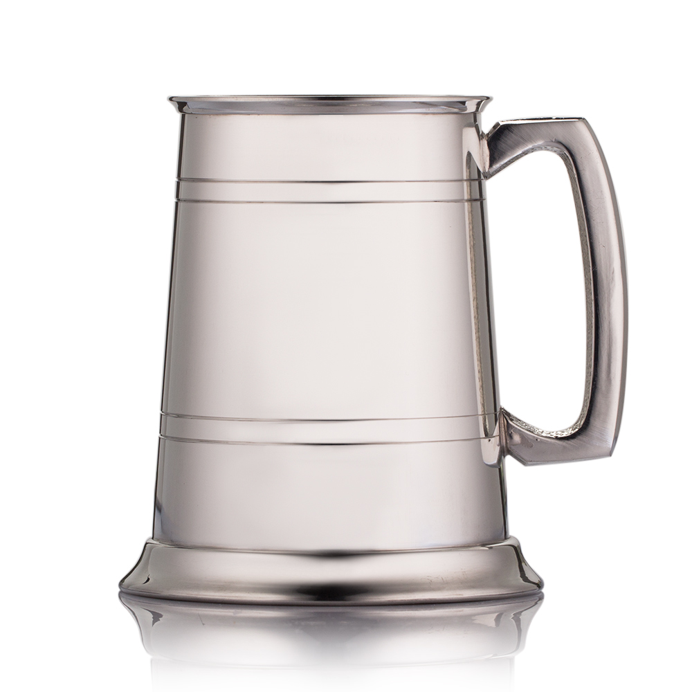 engraved pewter hip flask with double line