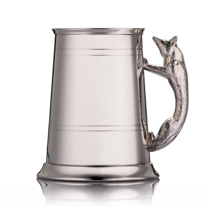 engraved handle fox tankard