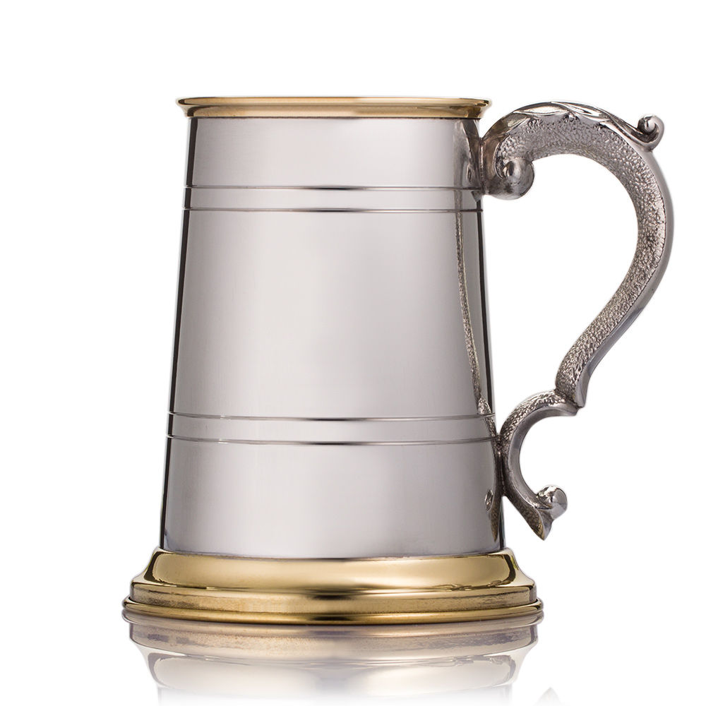 engraved tankard with gold scroll detail