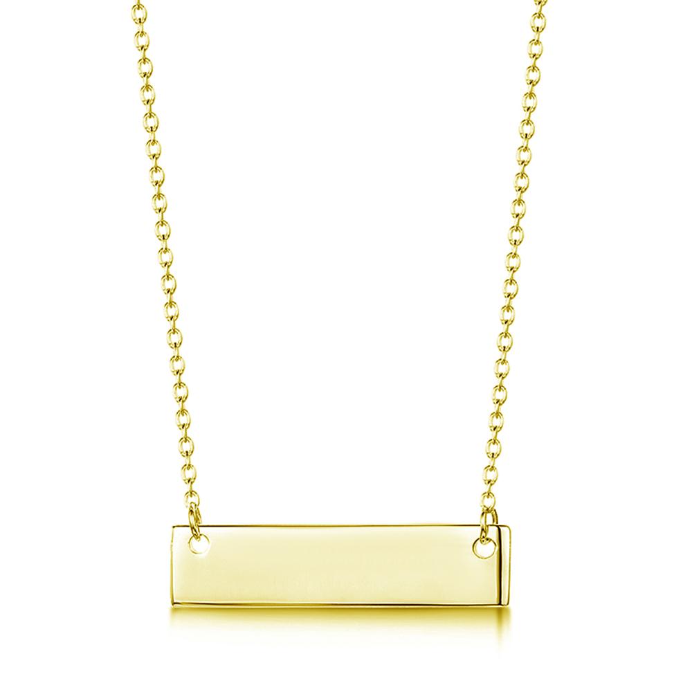 engraved name bar gold vermeil necklace