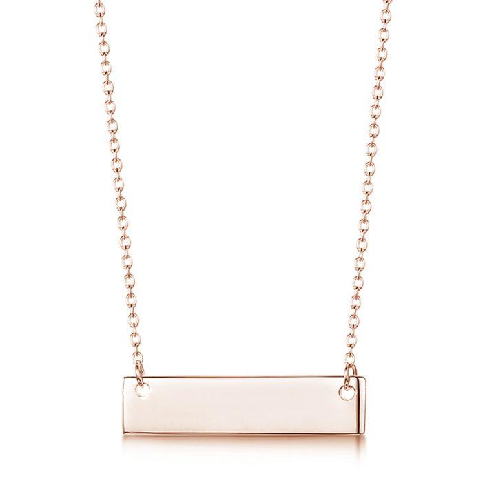 engraved name bar rose gold necklace