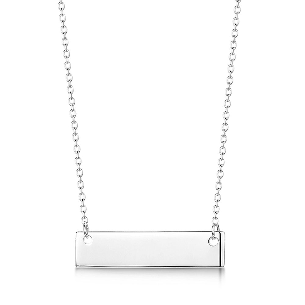 engraved sterling silver name bar necklace