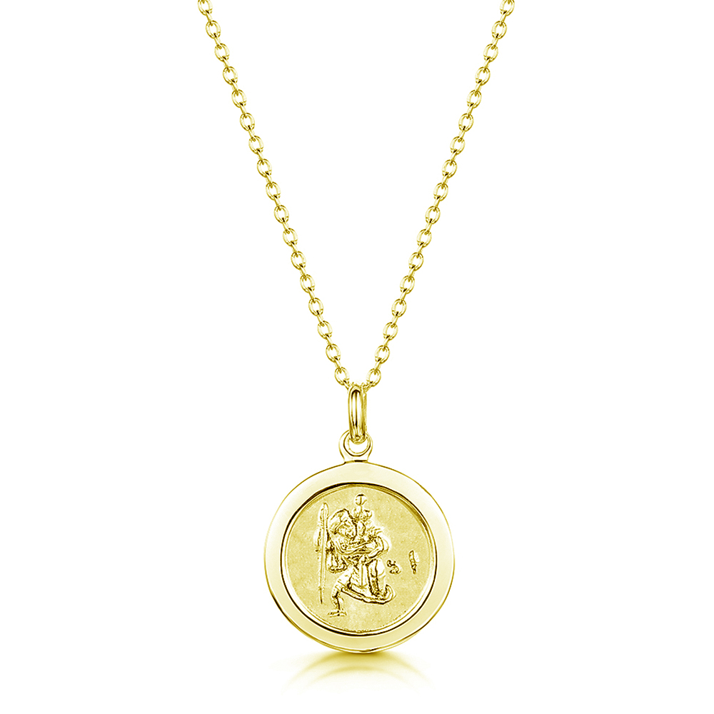 engraved gold vermeil st christophers pendant
