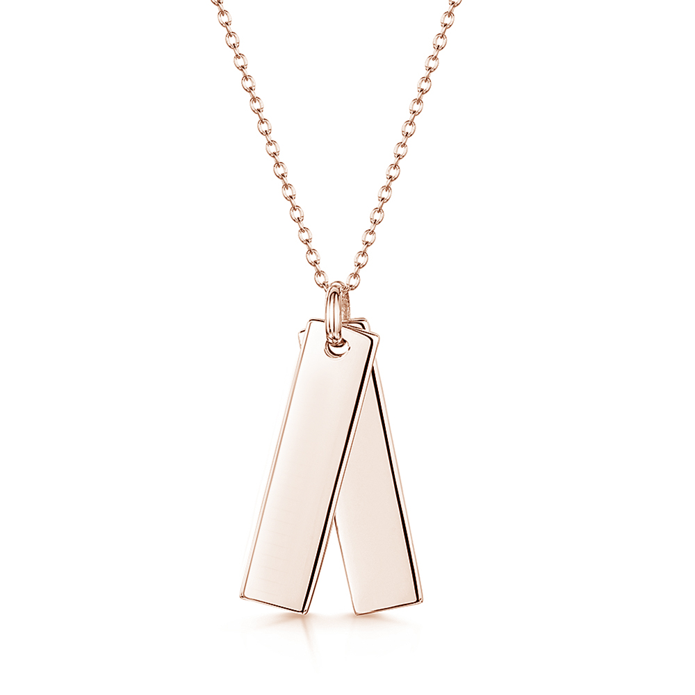 engraved twin tag necklace with rose gold plating
