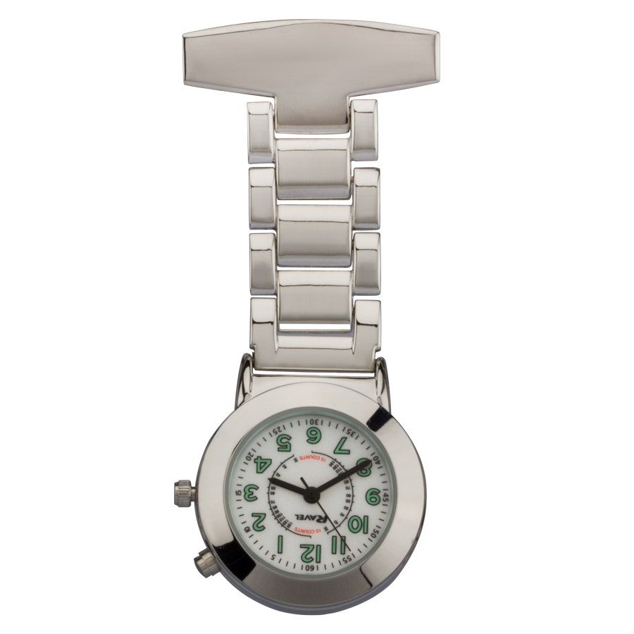 engraved silver backlight nurses watch