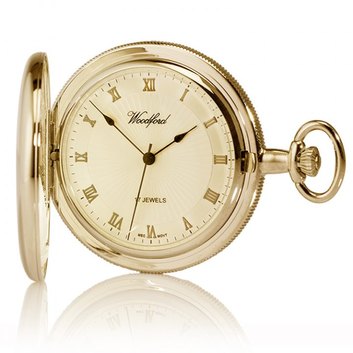 engraved woodford gold pocket watch