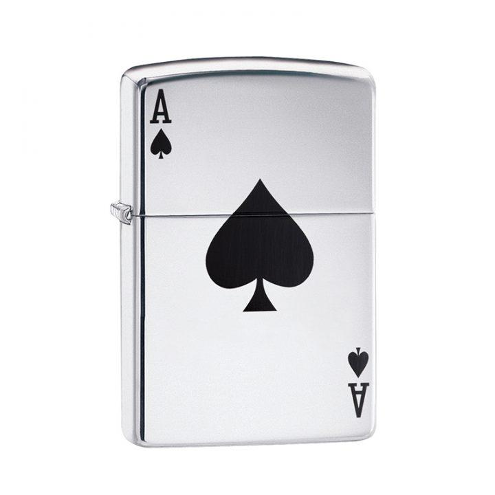 silver engraved ace of spades zippo lighter