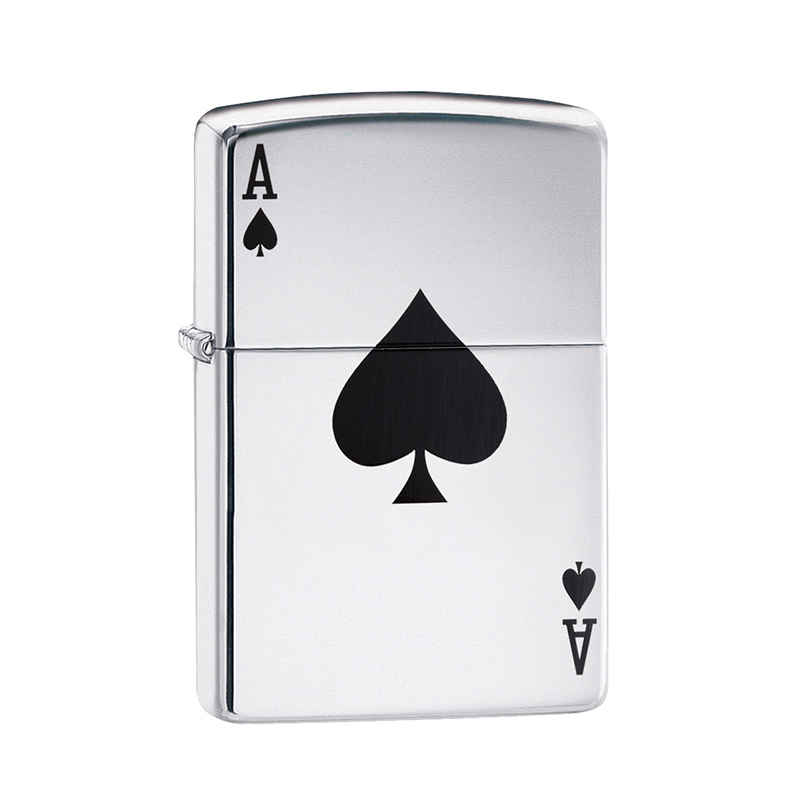 silver engraved ace of spades zippo lighter