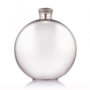 engraved round pewter hip flask