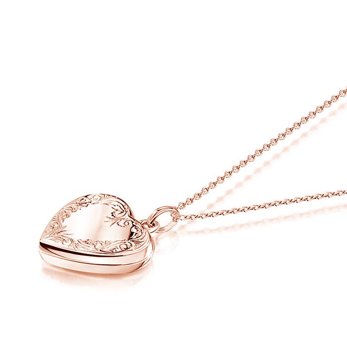Scroll Heart Rose Gold Locket Engraved For Her Uk Engravers Guild