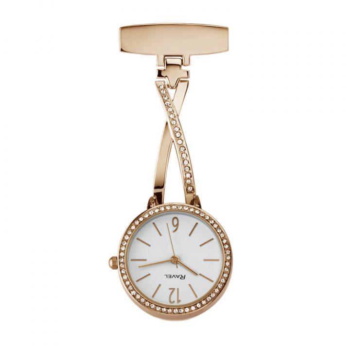 Ravel-personalised-ribbon-nurses-watch-rose-gold