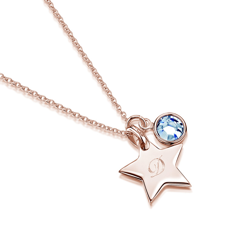 Little-Star-Initial-personalised-necklace---rose