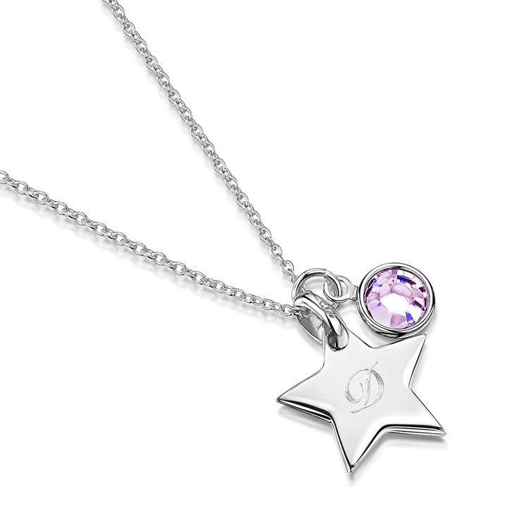 Little-Star-Initial-personalised-necklace---silver