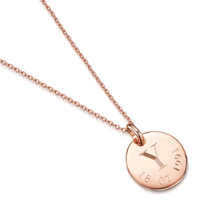 Initial Date Personalised Necklace Engraved In Rose Gold