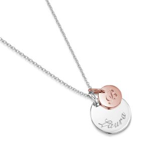 personalised necklace Disc-with-dot-disc-rose-gold-flat