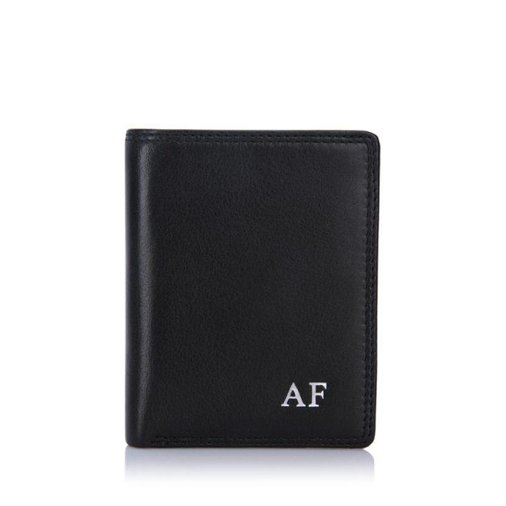 visconti-card-wallet-black-silver-initials