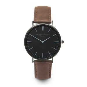 brown-strap-black-dial-engraved-watch