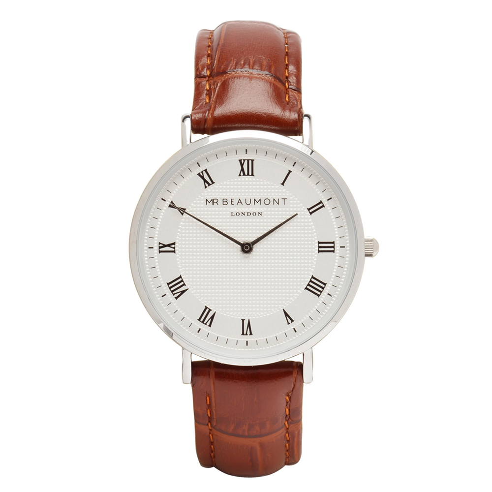 Mr-Beaumont-personalised-retro-watch-brown-silver