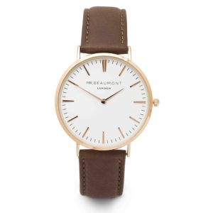 gold case brown leather strap watch