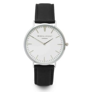 silver case black leather strap watch