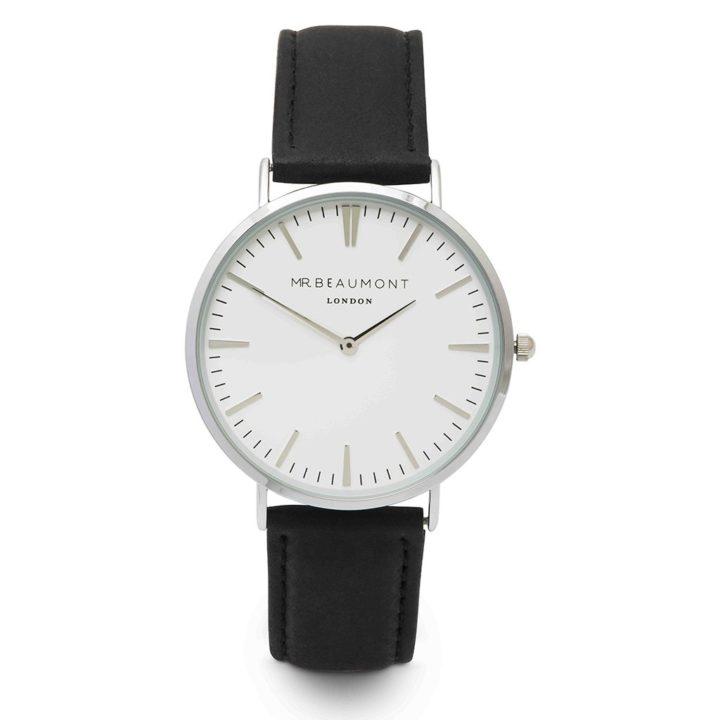 silver case black leather strap watch