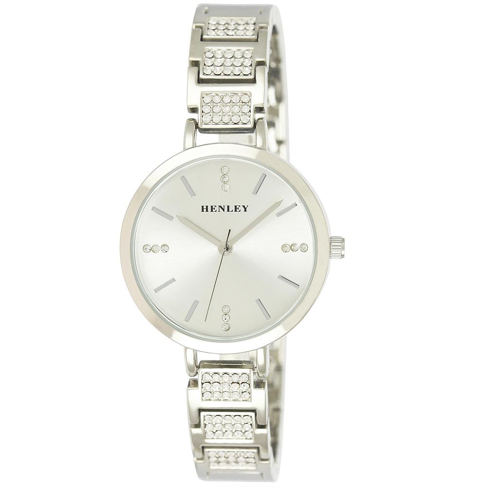 silver diamante engraved ladies henley watch