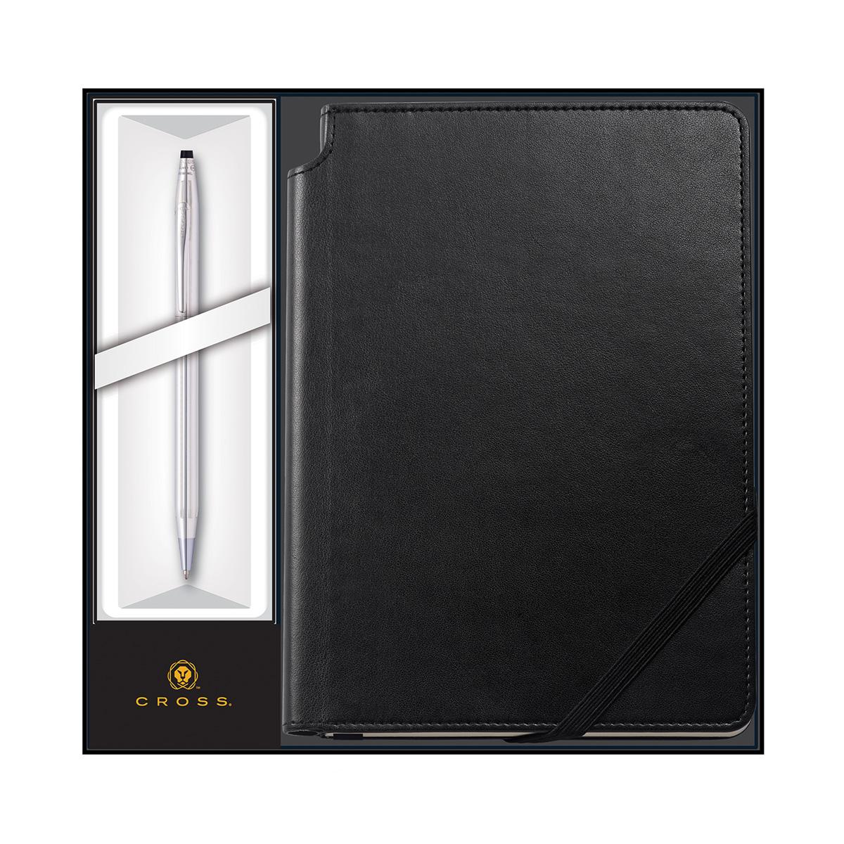 cross gift set chrome pen and black journal