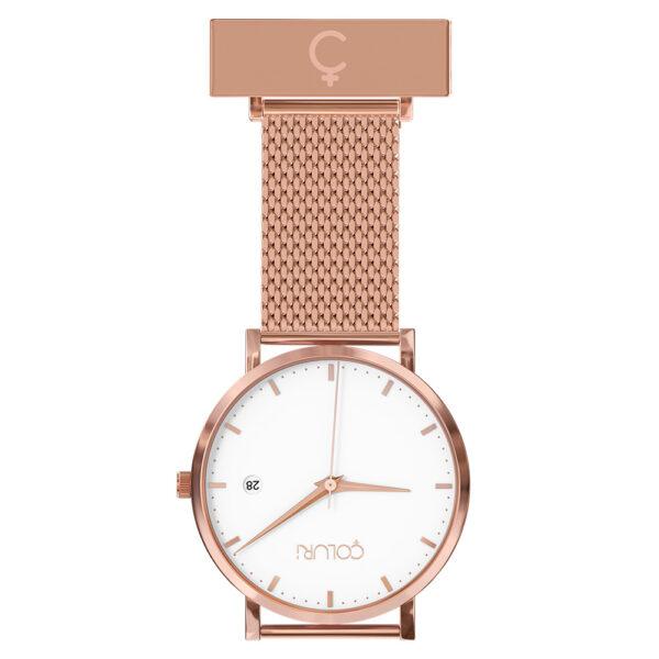 coluri-rose-mesh-nurse-fob-white-dial