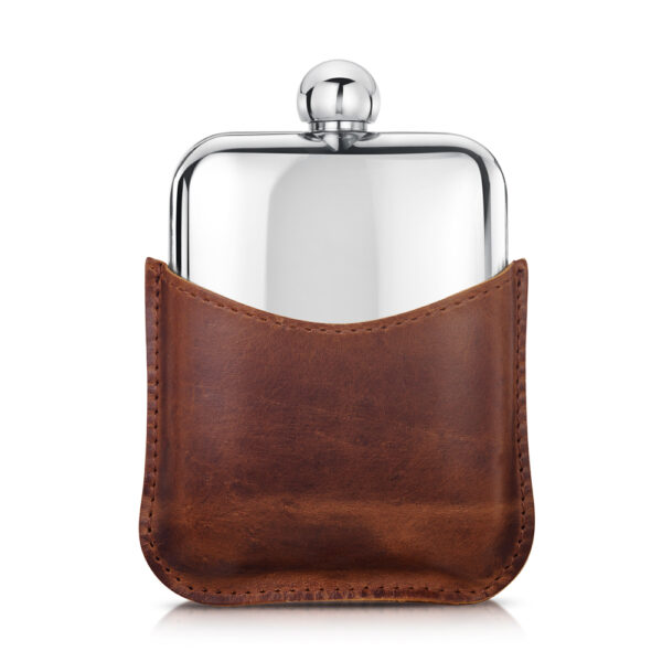 steel-personalised-hip-flask-leather-pouch