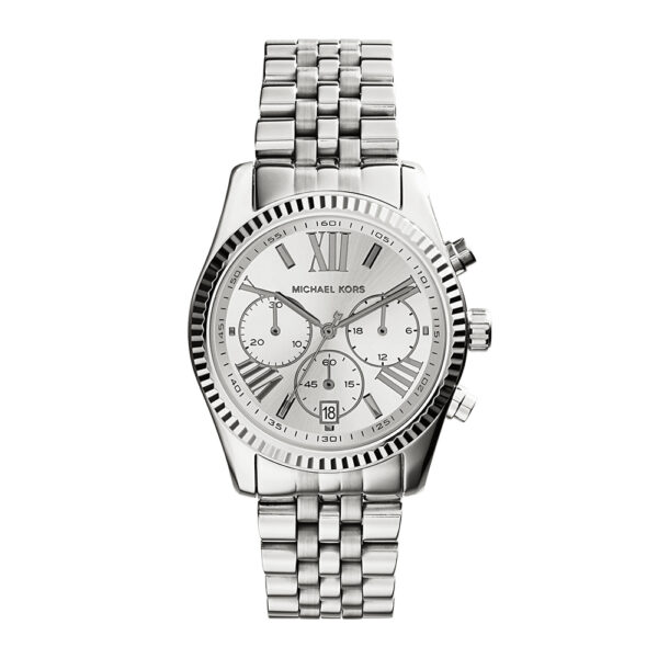 silver-womens-michael-kors-bracelet-watch-front